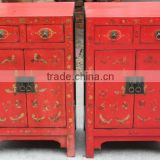 Chinese wooden red wedding bedside cabinet