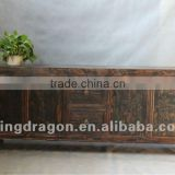 Chinese antique furniture pine wood dark wood color Shanxi four door two drawer TV cabinet