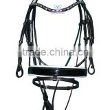 Snaffle Bridle Wave Stone Browband & Swidish Wider Padded Patent Noseband with Rolled Reins (GNG)