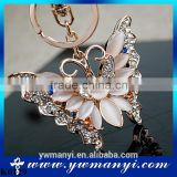 High quality Rhinestone Butterfly Jewelry keychain women key holder chain ring car bag pendant Charm For Wholesale K0129