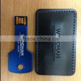 key shape usb flash driver with leather case package