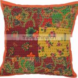 Indian Kantha Cushion Cover Cotton Patchwork Pillows 16X16 Vintage Shams Boho Throw Decorative Pillow Cases
