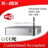 2014 factory price mini pc x-25x G1610 dual core thin client 2g ram 8g ssd mini itx tv box station support touch screen
