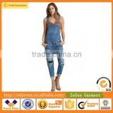 New Stylish Blue 100% Cotton Denim Jeans Wholesale Apparel Overall For Women                                                                         Quality Choice