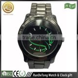 Black Simple paint designing dial stainless steel band dustproof oil-painted hands men dress watch