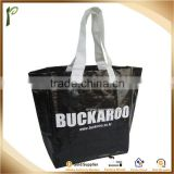 Popwide newest 2014 Large Black pp non woven shopping bag, laminated shopping bag