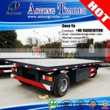 AOTONG Brand 20ft lengh 30tons small farmer use flatbed rear dump drar bar full trailer with HYVA hydraulic cylinders