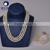 pearl wedding jewellery Wholesale real fresh water cultured white pearl 3 layer bead necklace set