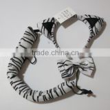 Cosplay Party Dress Up Plush Fluffy Bunny Rabbit tiger zebra panther cat Ears fabric Hairband