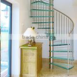 Tempered laminated glass steps Spiral Stairs For Indoor Stairs with vertical tube railing