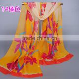 hot selling leaves flower pattern women chiffon silk thin scarf muslim hijab fashion popular Muffler /shawls 160*50 cm