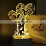 692-3d Loving Art Light Valentine Heart Shape 3d Illusion Light 3d Moon Light Bedroom Romantic Lamp