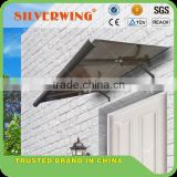 Polycarbonate waterproof rain awnings supports outdoor canopy with aluminum awning parts metal roof