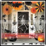 Orange & Black tissue paper Hanging Fans and pompoms Halloween party decoration                                                                         Quality Choice