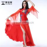 Wuchieal 2015 Belly Dance Performance Costumes Dress, Long Sleeves Sexy Dress Show Dance Wear