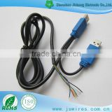 Customized Multi function Y Splitter 2 X USB 2.0 Male to open Cable blue connector Power Data Sync cord