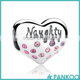 925 Sterling Silver NICE Naughty Word Heart Beads Charms with Pink Crystal for DIY Jewelry Making Baby Gift