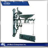 Cast Iron Bracket 'Welcome' Sign & Bird Feeder