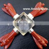wholesale Red Jasper Angel Energy Generator With Crystal Pyramid : Agate Energy Generator