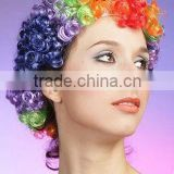 Cheap synthetic Rainbow Clown Afro Wig, football fans wig