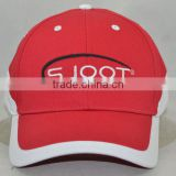 Guangzhou hat factory professional custom 6 panel / 100% cotton / / embroidery logo/red and white baseball cap