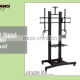 TV cart with adjustable shelf and projector tray, LCD television floor stand