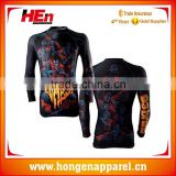 Hongen apparel Manufacturer Wholesale Top Selling High Quality Custom Printing Design Your Own MMA Rash Guard /BJJ Rash Guard