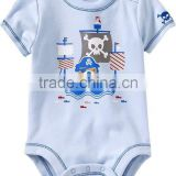 Adorable Fashion Short Sleeve Body Suit Printed Cotton Infant Romper With Merrow Stitch Cute Baby Clothing