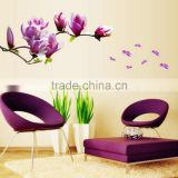 2016 Hot Sale Exquisite Elegant Magnolia Flowers Removable Art Vinyl Mural TV Backdrop Home Room Decor Wall Stickers
