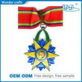 Simple Design Star Insert Pressed Engrave Smooth Edge Iron Brass Zinc Alloy Mirror Effect Medals