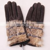 Factory supply winter warm ladies leatehr gloves for women
