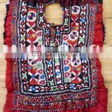 Vintage Handmade Mirror work yoke neck Patch - Indian Banjara Mirror work Beaded Neck Yock patches