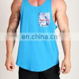 Gym singlets with customized printing pocket - gym tank tops with sublimated pocket - high quality stringer vest with gym shorts