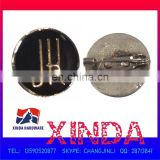 21x21mm Metal Emblem Badge with Pin, Made of Zinc alloy, Embossed Logo-painted Black/Glue-covered