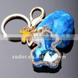 Novel lovely CRYSTAL KEYCHAIN crystal COLORFUL BEAR key chain crystal animal key ring bag accessory 43019