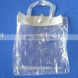 Clear Plastic PVC handle bag with button for packing,PVC shopping bag