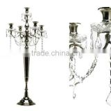 5 Lite Wedding Decor Candelabra with Hanging Crystals, Decorative Candelabra For Wedding And Parties
