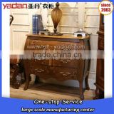 Pictures of new design bedroom furniture walnut color beer belly shape night stand 3 drawers hardware handle