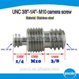 Ideas for mini company camera screw finish stainless steel camera screw UNC 1/4 inch to 3/8 inch to M10