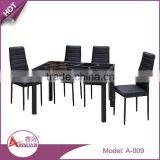 A-009 luxury black design glass table and chair/glass top dining table with leather chairs/modern design glass top table