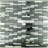Long rectangular glass Mosaic - cool black, silver Mosaic - foshan Mosaic background wall fashion accessory