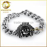 good quality stainless steel indian chief head pattern cuban link chain bracelet