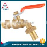 "nature brass color lever iron handle polo wall mounted 1/2*3/4"" basin sanwa copper ball brass tap/faucet/bibcock in yuhuan china"