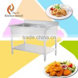 Commercial kitchen sink work table with stainless steel handmade folding work table with top shelf good qualtiy supplier