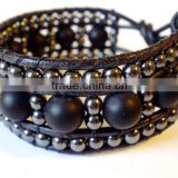 Unisex Beaded leather wrap bracelet or cuff - hematite stone and matt black onyx