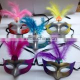 2016 Halloween Holiday Party Hot chicken feather Dance Mask luminous mask masquerade party decoration