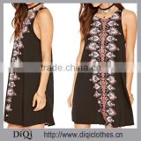New Model Girl Zipper Baroque Print Round Neck Sleeveless Woven Beach Dress