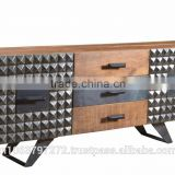 Buffet 2 Doors & 3 Drawers With Mango Wood Top And Iron Metal Base