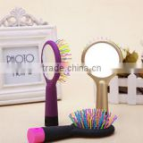 2015 Korea Style New Design Hot Selling Head Massage Rainbow ABS Hairdressing Comb with Mirror