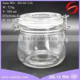 Air Tight Round clip top glass jar 500ml